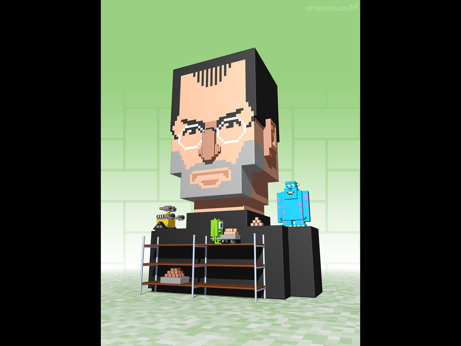 Metin seven 3d pixel artist voxel illustration steve jobs pixar