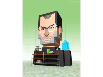 Steve Jobs voxel illustration