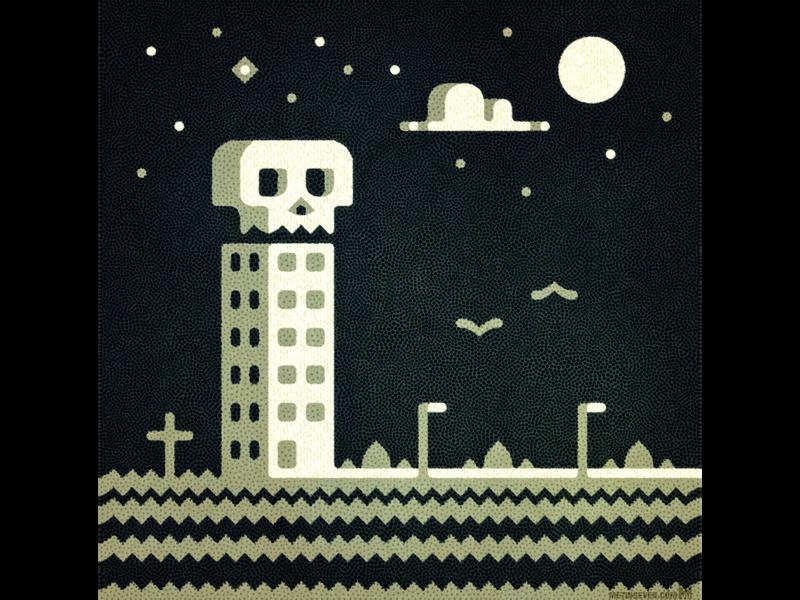 Death Motel design graphic 2d vector artwork art illustration spooky night road cartoony cartoon hotel motel death