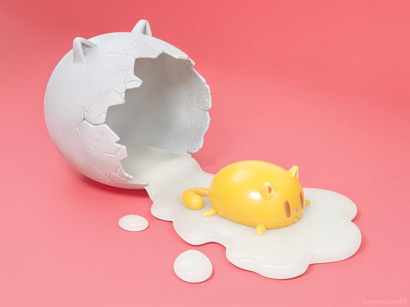 Feline egg — cartoony 3D artwork (fine-tuned new version) metin seven illustrator illustratie illustration ei kat gestileerd stylized cartoony shell feline cat egg artwork 3d