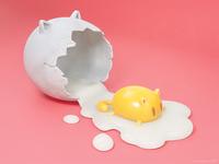 Feline egg — cartoony 3D artwork (fine-tuned new version)