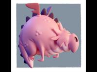 Cartoony pink dragon