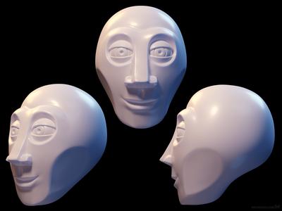 Stylized alien-human hybrid head
