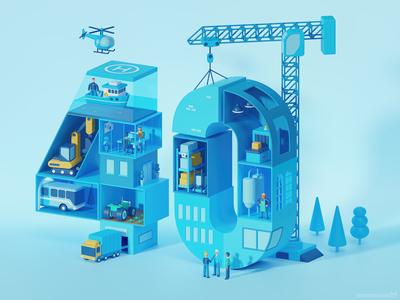 Stylized 3D illustration