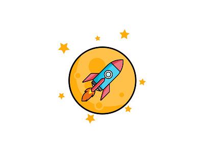 rocket colorful minimalist flatdesign icon portrait work illustration art vexel vector illustrator