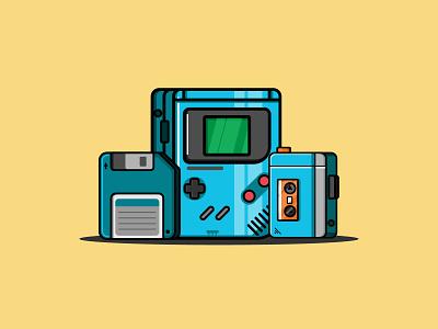 game boy retro classic icon branding fiverr design creative work illustration vexel art vector illustrator