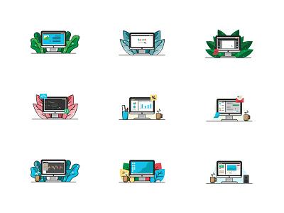 desktop minimalism flat icon design creative work illustration art vector illustrator