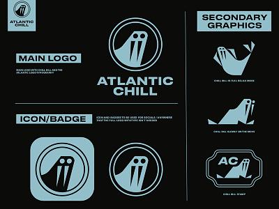 ATLANTIC CHILL | LO-FI BY ATLANTIC RECORDS illustration symbol trademarks records music lofi branding identity logo icon animal chilling chill atlantic atlantic records walrus
