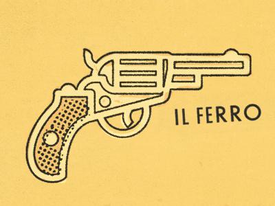 Il ferro aka the gun. illustration icon 1970 handgun colt ferro pistol gun