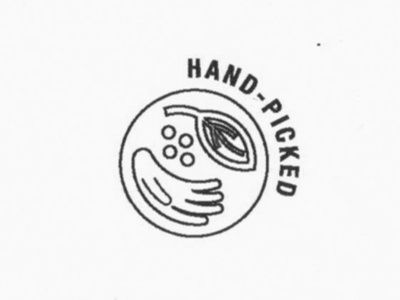 Hand Picked badge label leaves leaf harvest handmade coffee hands pick picked hand