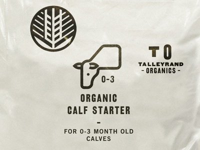 Talleyrand Organics nature bags badge wheat icons calf iowa farm feed organic organics