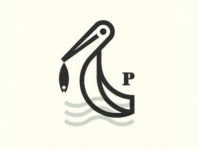 Pelican fishing symbol fish illustration logo marks mark bird pelican