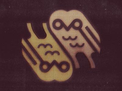 Owls logo symbol marks reverse double mark gufo barnowl owl owls