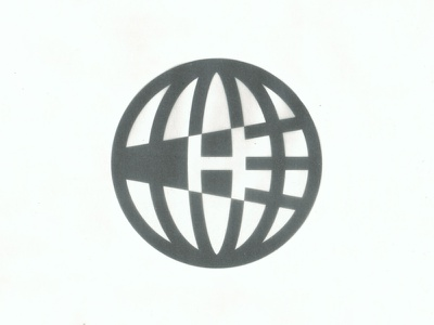 Homecoming logo meridian parallel symbol mark homecoming h midcentury globe atlas earth world