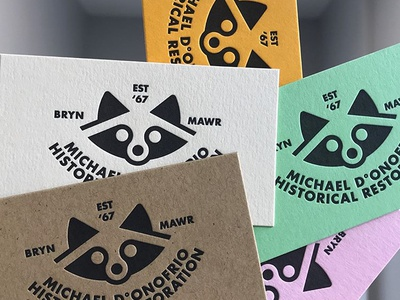 MDHR Raccoon Cards LPressed by Paper Meets Press french paper colorplan papers philadelphia paper meets press papermeetspress letterpress historical restoration donofrio mdhr logo icon raccoon
