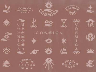 cosmica identity system secret society illuminati eye boston taco tacos mex mexican cosmica cosmic branding icon mark marks symbol logo