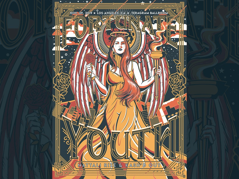 Fortunate Youth - Los Angeles, CA - Limited Edition Screenprint los angeles roses angel illustration screenprint