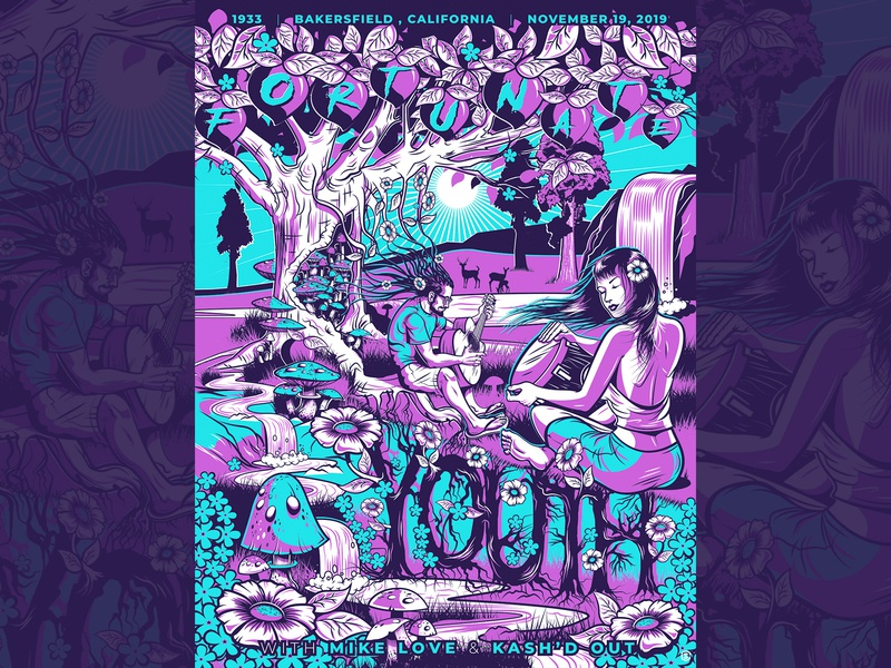 Fortunate Youth - Bakersfield, CA - Limited Edition Screenprint music illustration poster design concert poster screenprint