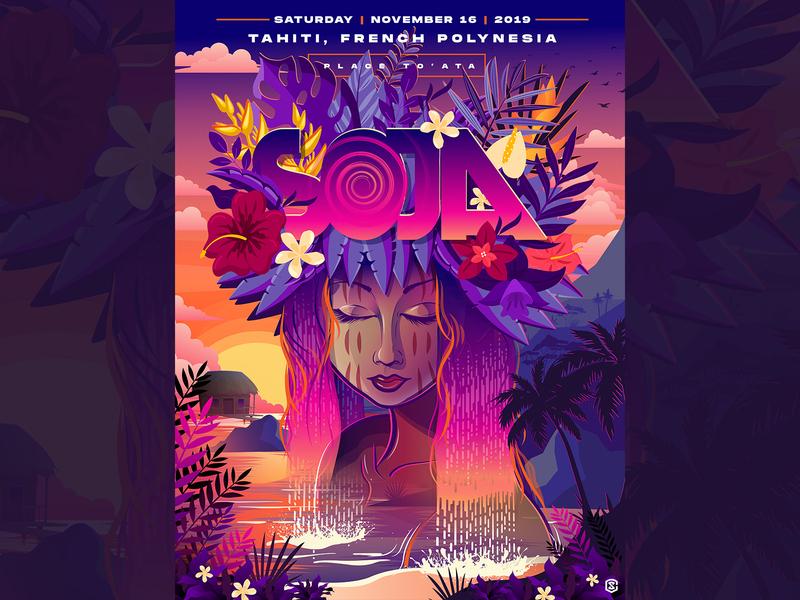 SOJA - Tahiti, French Polynesia - Limited Edition Concert Poster tahiti illustration music concert poster poster design