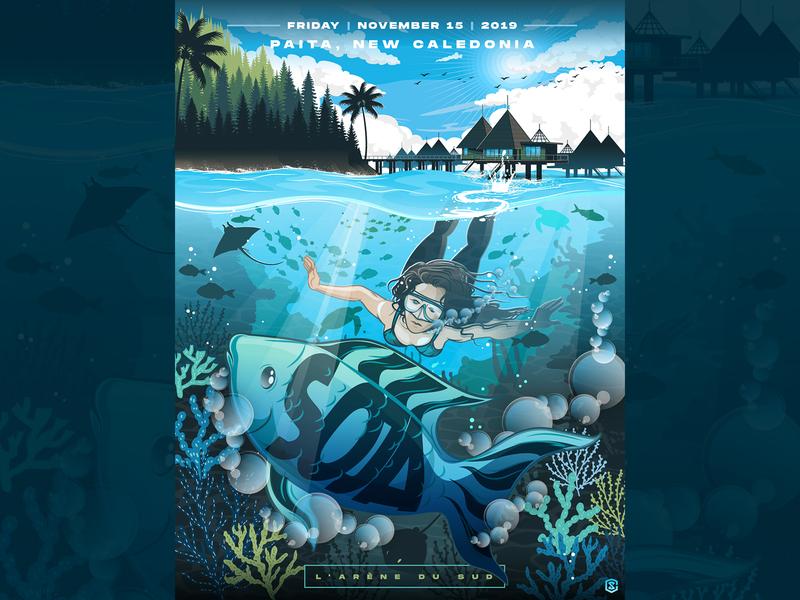 SOJA - Paita, New Caledonia - Limited Edition Concert Poster graphic design concert poster sealife illustration poster design