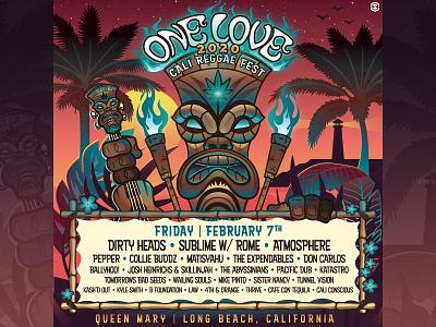 One Love Cali Reggae Music Festival - Promo Graphics beach concert poster reggae music illustration