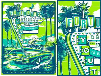 Drive-In Style Concert Poster for Fortunate Youth at The Grove reggae 3-color rock poster concert poster drive-in