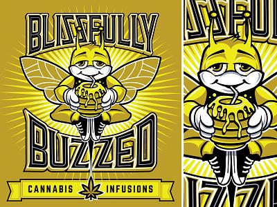 Stoney Bee: Blissfully Buzzed Cannabis Infusions Label Branding bee honey logo cannabis typogaphy branding illustration