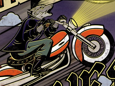 Sons Of Wolves Album Art Detail music album art vintage night rider howling motorcycle wolf