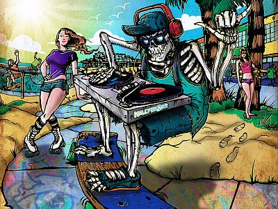 Skelly Sk8er Cruises Venice - Album Art skatebord skating ocean surf surfing surfer girl dj skeleton venice beach
