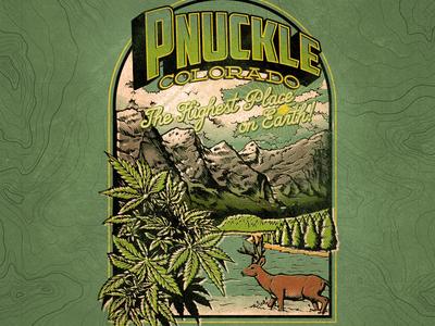 The Highest Place On Earth: Pnuckle, Colorado tee design postcard outdoors green colorado weed marijuana