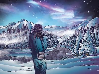 Edem Kwame Watching Over Me Album Art Illustration music reggae winter nature illustration album art