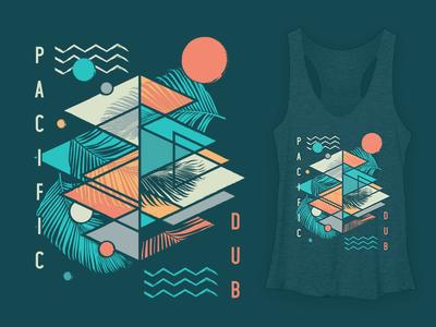 Pacific Dub Womens Geometry Tank band tee reggae california beach surf palm trees abstract geometric geometry