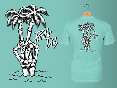 Pacific Dub Mens Bone Palms Tee vector beach music t-shirt tee design illustration california reggae logo