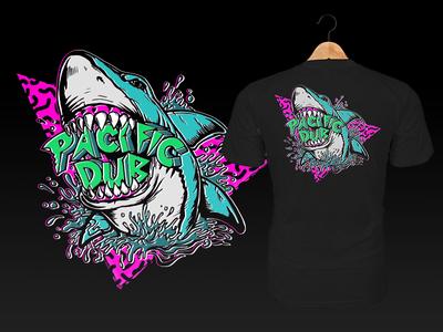 Pacific Dub Shark Bite Tee vector beach t-shirt tee design illustration california album art reggae music logo