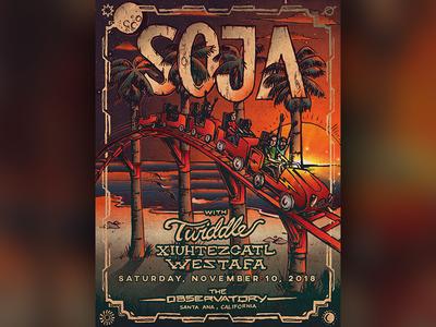 Soja Limited Edition Artist Series Santa Ana Calfornia Poster Ar poster concert poster poster art beach vector california illustration reggae music
