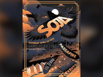Soja Limited Edition Artist Series Baltimore Poster Art 2019 moonlight ravens crows poster concert poster poster art baltimore illustration reggae music