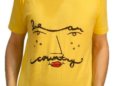 Mustache Lips bear country music illustration screenprint