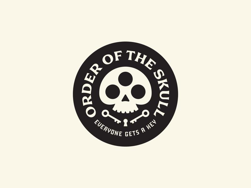 Order of the Skull Badge typography branding eyes eye vision swag merch badgedesign vintage badge keyhole key skull