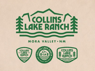 Collins Lake Ranch illustration typography retro logo lake camping camp ranch mountains mountain trees tree outdoor badge outdoor logo outdoors outdoor