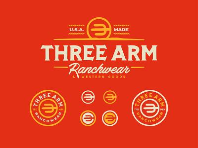 Three Arm Ranchwear badge logo typography rustic texas ranch desert cactus western west