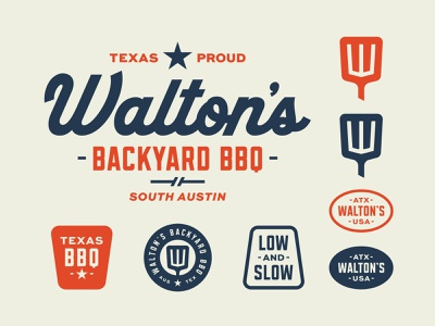 Walton's Backyard BBQ badgedesign badge logo badge logotype icon retro branding austin texas austin food truck logo food truck restaurant brand restaurant branding restaurant logo restaurant barbecue bbq logo