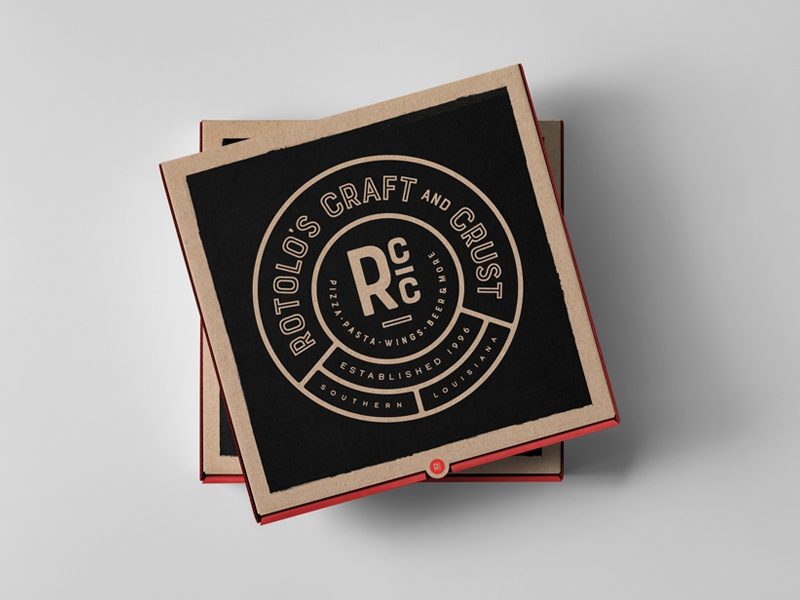 Rotolo's Exploration craft beer badge bar restaurant logo typography pizza box pizza