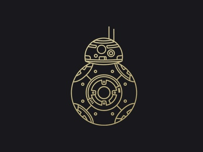 BB-8 Monoline illustration bb-8 bb8 droid robot movie the force awakens the last jedi star wars