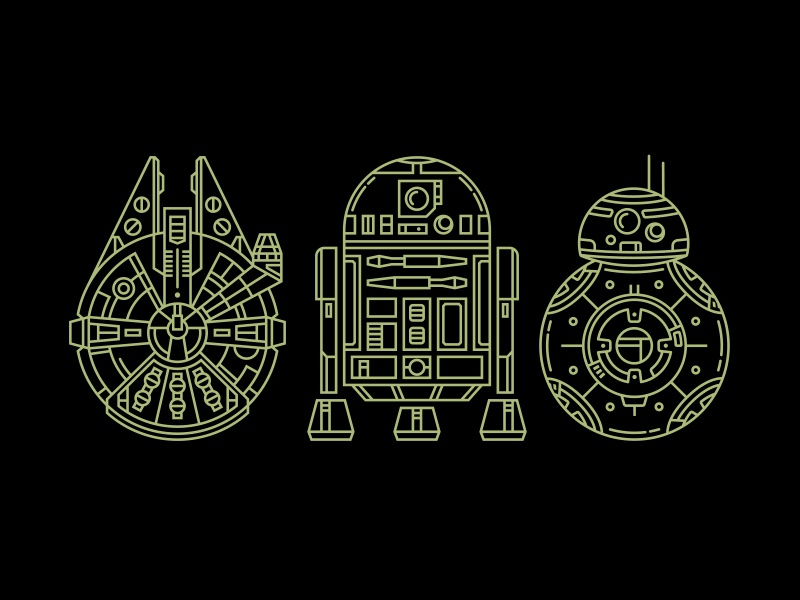 Star Wars Sticker Set pop culture minimal monoweight illustration monoweight monoline retro sci fi illustration millenium falcon bb8 r2d2 starwars star wars