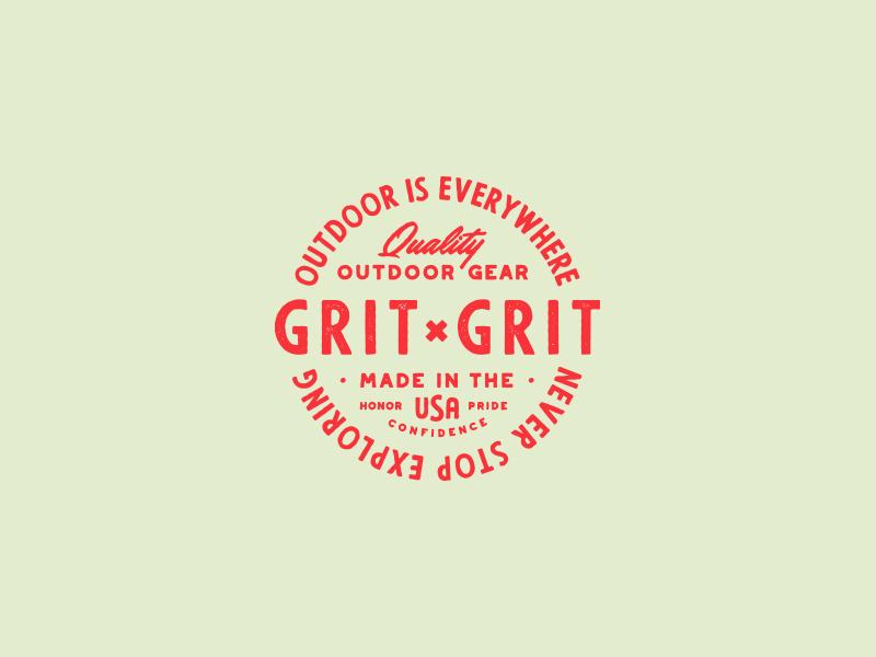 Grit x Grit Badge badge logo badge gear script typography camp vintage branding wilderness outdoors outdoor