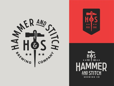 Hammer and Stitch Concept badge logo badge hammer sewing stitch portland brewing brewery beer