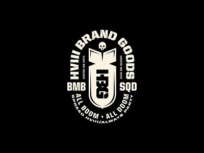 HVIII Brand Goods type illustration bomb skull training crossfit strength badge design badge logo