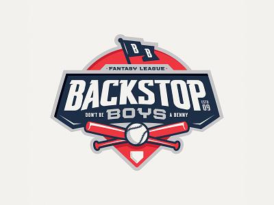 Backstop Boys Fantasy League baseball logo football logo basketball logo illustration typography fantasy baseball sports branding logo design sports logo