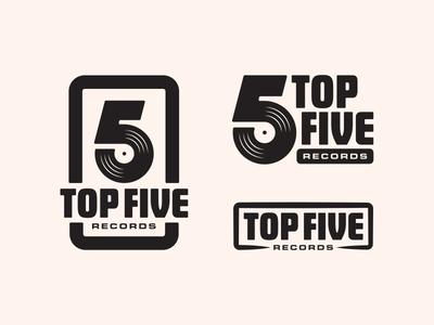 Top Five Records branding logos logo typography hifi movie record label vinyl record vintage retro music records vinyl