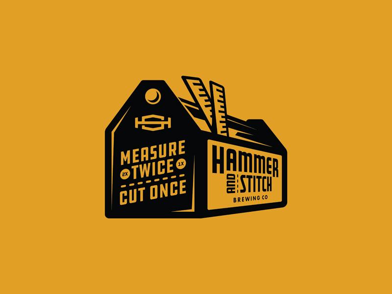 Measure Twice, Cut Once brewery branding brewery logo brewery beverage logo illustration illustrator measure ruler tools toolbox beer branding beer